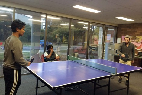 Table tennis or ping pong. Students can use it for free. The facility for playing ping pong can be found in several spots in the university, including in student accommodation.