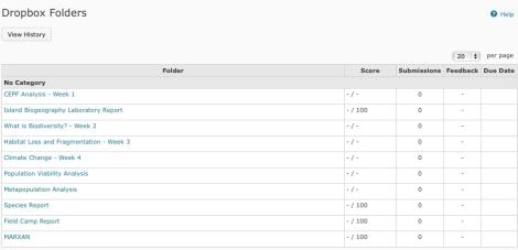 Dropbox folder untuk mengumpulkan tugas-tugas kuliah