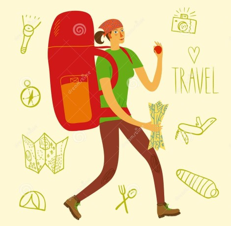 backpacker-illustration-cartoon-traveler-girl-large-backpack-doodle-drawings-including-map-flashlight-camera-knife-50814149